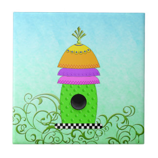 Checkerboard Base Birdhouse Tiles and Trivets