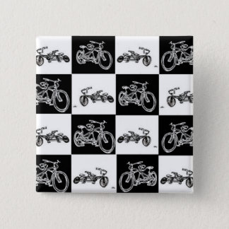 checkerboard bicycles 15 cm square badge