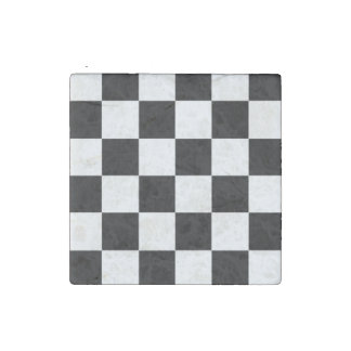 CHECKERBOARD BLACK AND WHITE    MAGNETS SET STONE MAGNET