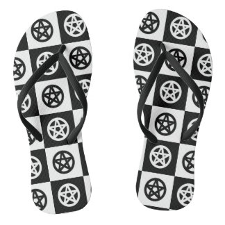 Checkerboard Black and White Pentacle Thongs