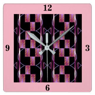 Checkerboard Clock- -Home Decor-China Pink/Black Square Wall Clock