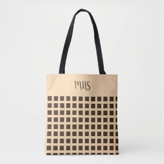 Checkerboard, in brown & tan, Add monogram or name Tote Bag