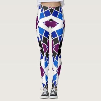Checkerboard Leggings - Blue/Purple/White/Black