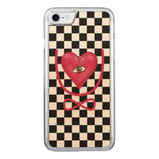 Checkerboard love you forever Eye heart U eternity Carved iPhone 8/7 Case