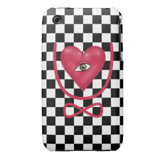 Checkerboard love you forever Eye heart U eternity Case-Mate iPhone 3 Cases