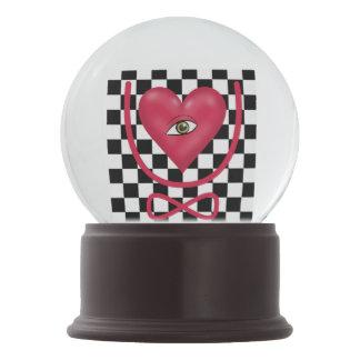 Checkerboard love you forever Eye heart U eternity Snow Globes