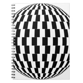 Checkerboard Optical Illusion Sphere Spiral Notebook