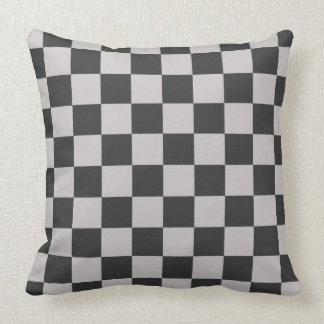 Checkerboard Pattern Charcoal Gray Cushion