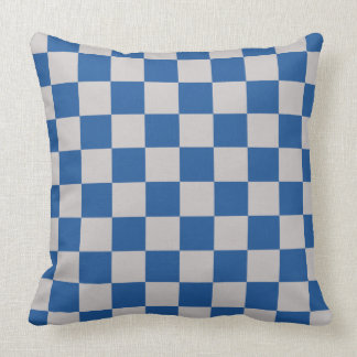Checkerboard Pattern China Blue Cushion