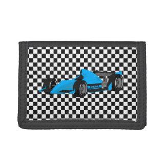 Checkerboard Race Car Tri Fold Wallet