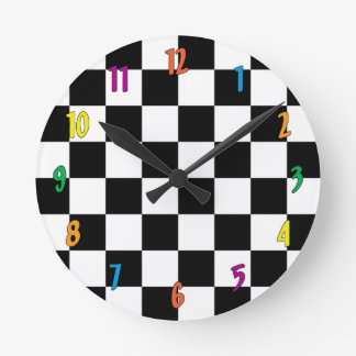 Checkerboard Round Clock