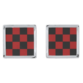 CHECKERBOARD TOO! (a square tile design) ~ Silver Finish Cufflinks