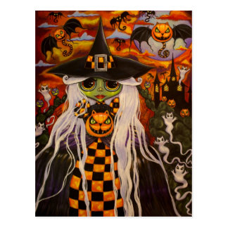 Checkerboard Witch Halloween Postcard