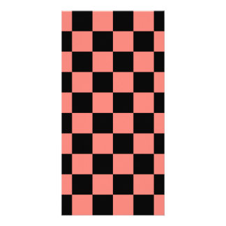 Checkered - Black and Coral Pink Personalized Photo Card