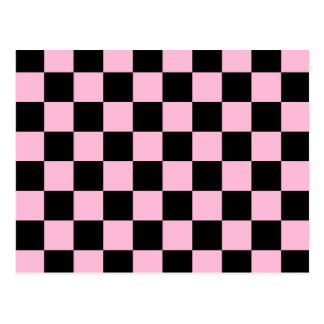 Checkered - Black and Cotton Candy Postcards