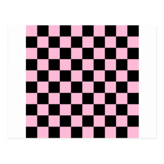 Checkered - Black and Cotton Candy Postcard