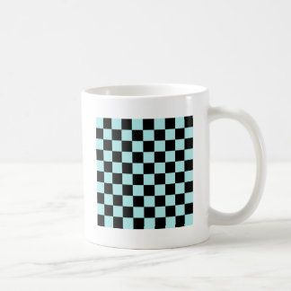 Checkered - Black and Pale Blue Coffee Mugs