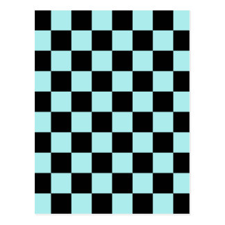 Checkered - Black and Pale Blue Postcard
