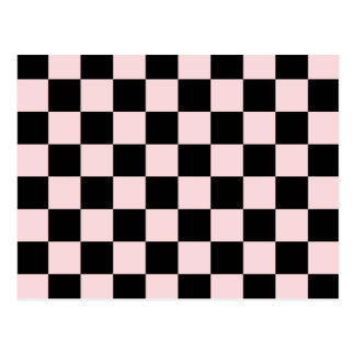 Checkered - Black and Pale Pink Postcard