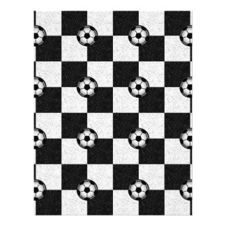 Checkered black and white with soccer balls 21.5 cm x 28 cm flyer