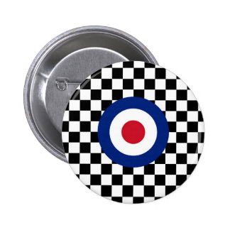 Checkered Black Racing Target Mod 6 Cm Round Badge