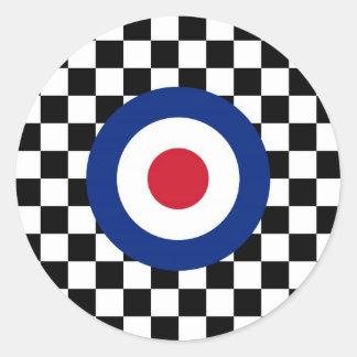 Checkered Black Racing Target Mod Classic Round Sticker