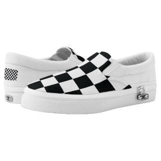 Checkered Black White Minimal Chess Pattern Cool Slip-On Shoes