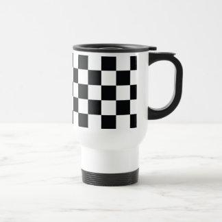Checkered Black White Minimal Chess Pattern Cool Travel Mug