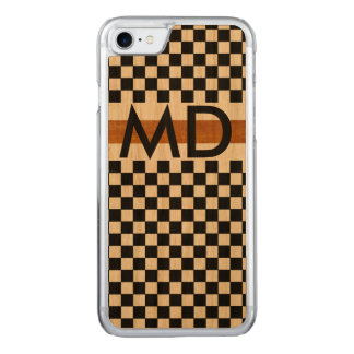checkered black with initials carved iPhone 8/7 case