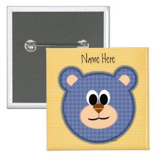Checkered Blue Teddy Bear Pins