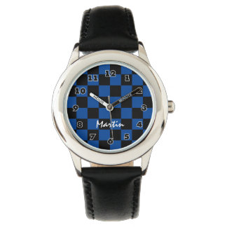 Checkered boy's watch personalized with kids name