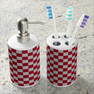 Checkered Burgundy and Silver Soap Dispenser And Toothbrush Holder