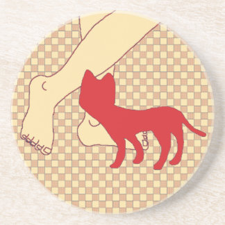 Checkered Cat Drink Coaster