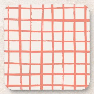 Checkered Coaster - Tomato