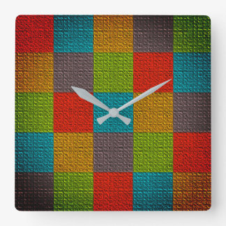 Checkered Colorful Bright Pattern Vibrant Emboss Square Wall Clock