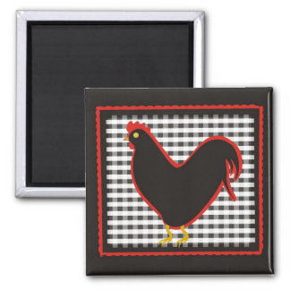 Checkered Country Chick Chalkboard Square Magnet