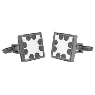 Checkered DarkGrey Dots Gunmetal Finish Cufflinks