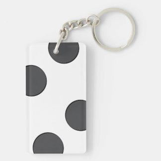 Checkered DarkGrey Dots Key Ring