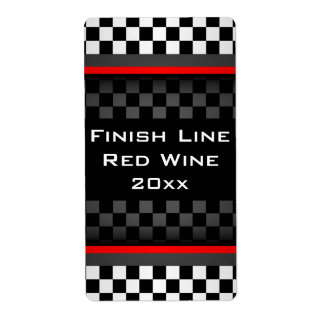 Checkered Design Homemade Wine Label