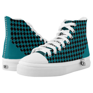 Checkered Dot Turquoise High Tops