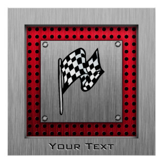 Checkered Flag; brushed aluminum look Poster