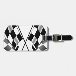 checkered flag luggage tag