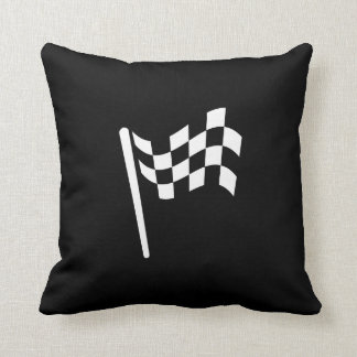 Checkered Flag Pictogram Throw Pillow