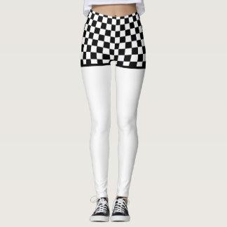 Checkered Flag Shorts  on White Leggings