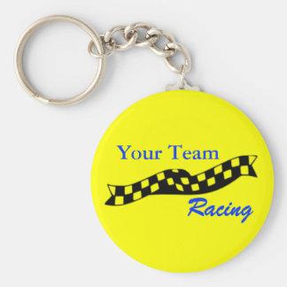 Checkered Flag Swoop Race Team Keychain