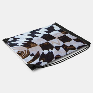 Checkered Flag with Ripple Effect Drawstring Backpacks