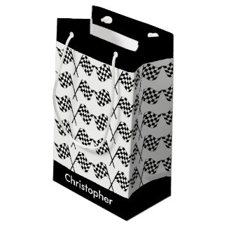 Checkered Flags Racing Personalized Small Gift Bag