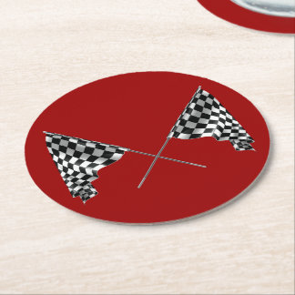 Checkered Flags Round Paper Coaster