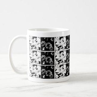 Checkered floral design mug
