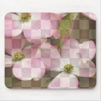 Checkered Floral Dogwood Flowers Mouse Pad